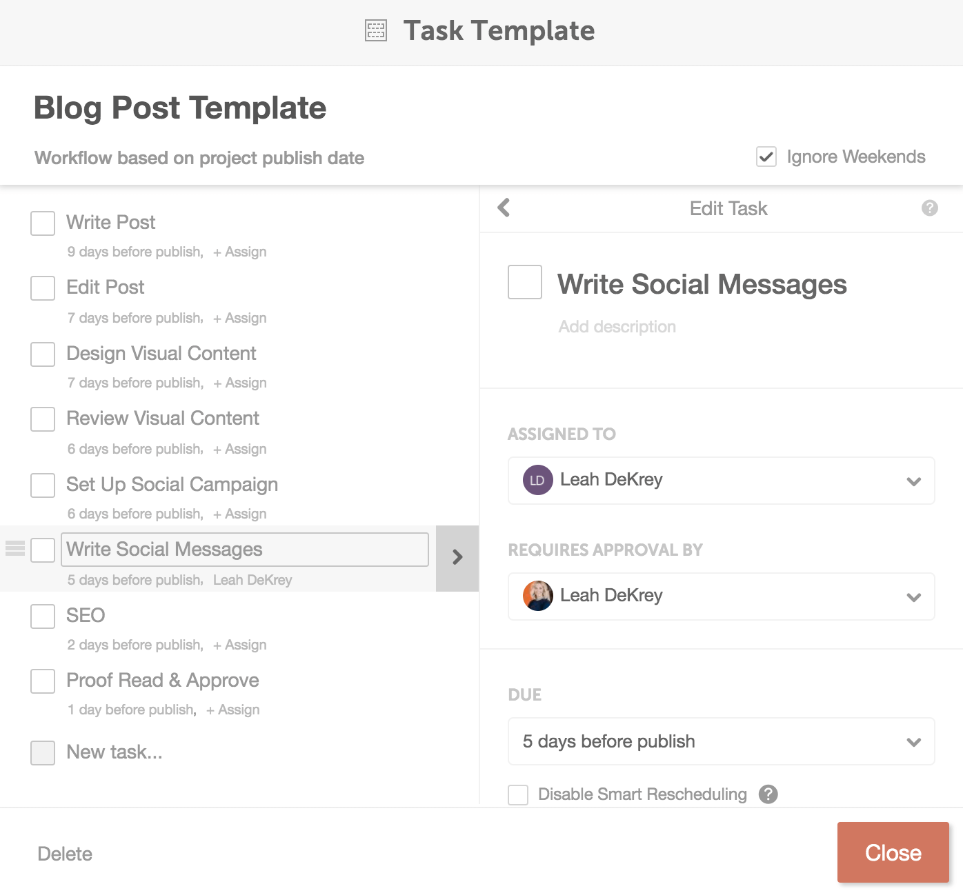 CoSchedule blog post task template