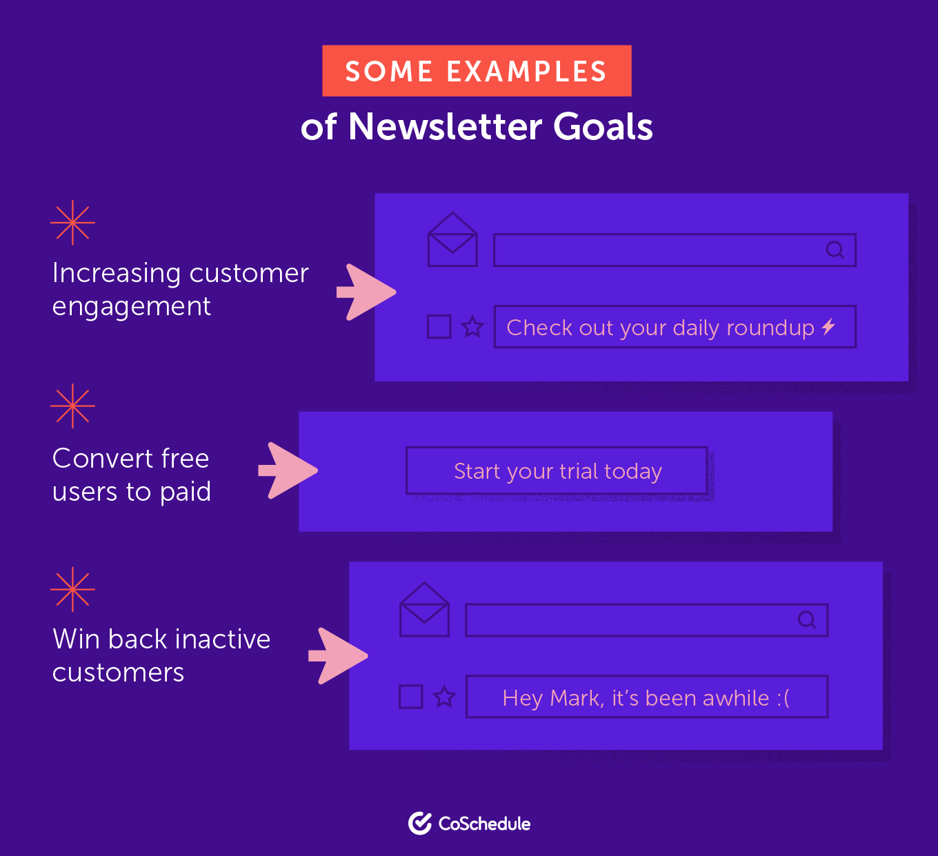 Some examples of newsletter goals