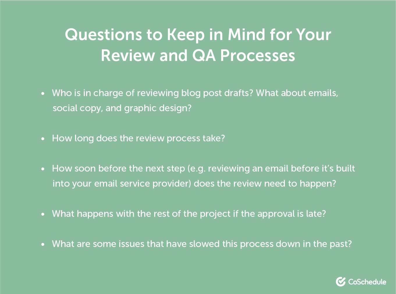 Questions to consider for review and QA processes