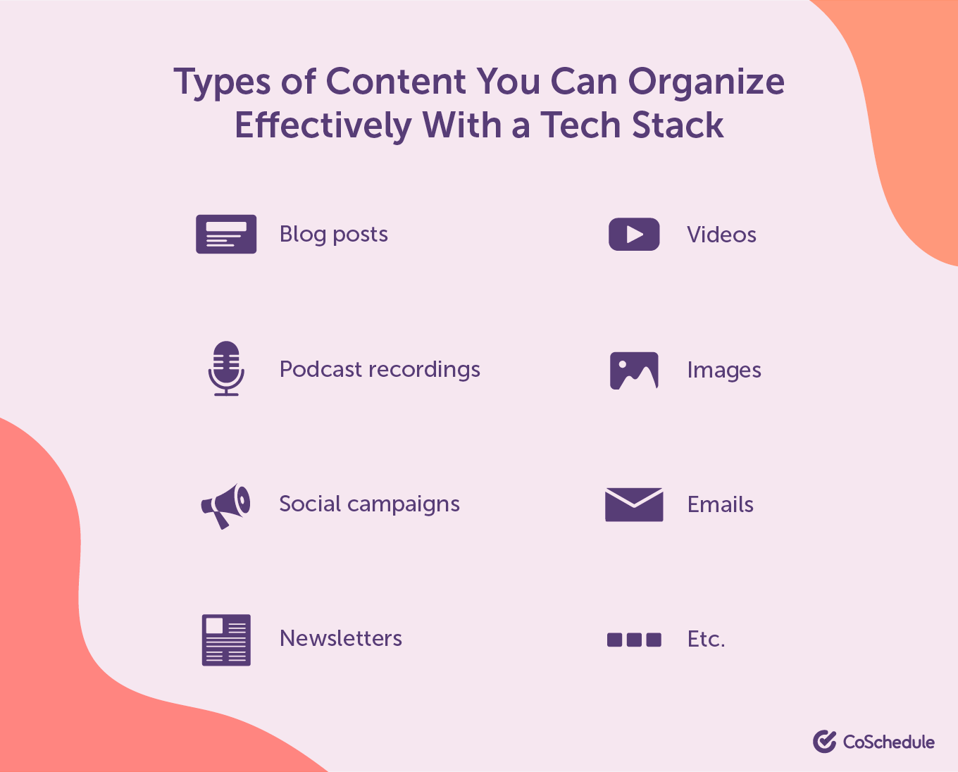 Types of content you can operate effectively with a tech stack