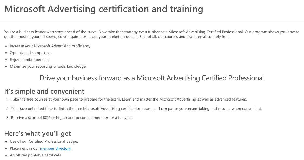Microsoft Advertising Certification and Training