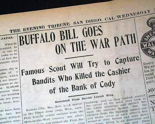 """Buffalo Bill Goes on the War Path"" newspaper headline"