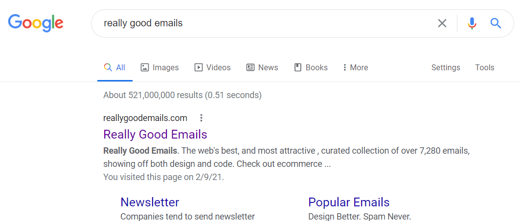 """Really good emails"" Google search"
