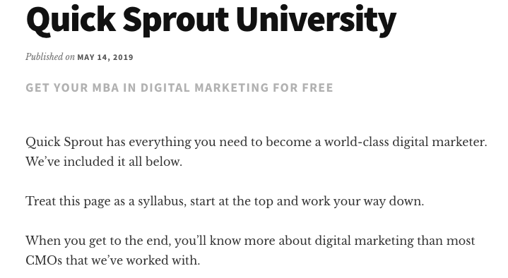 QuickSprout University for Internet Marketing