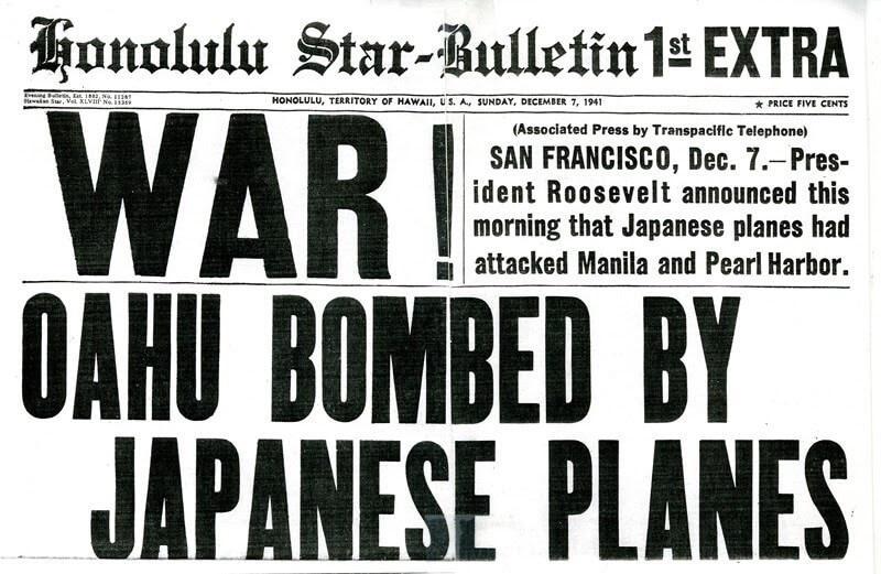 """WAR! OAHU BOMBED BY JAPANESE PLANES."" newspaper headline"