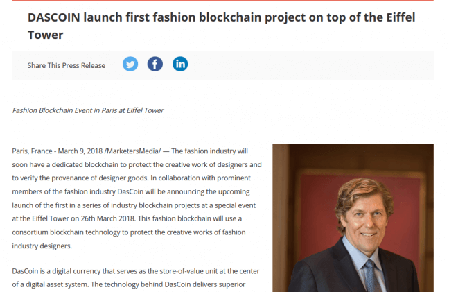 DASCOIN launch first fashion blockchain project on top of the Eiffel Tower