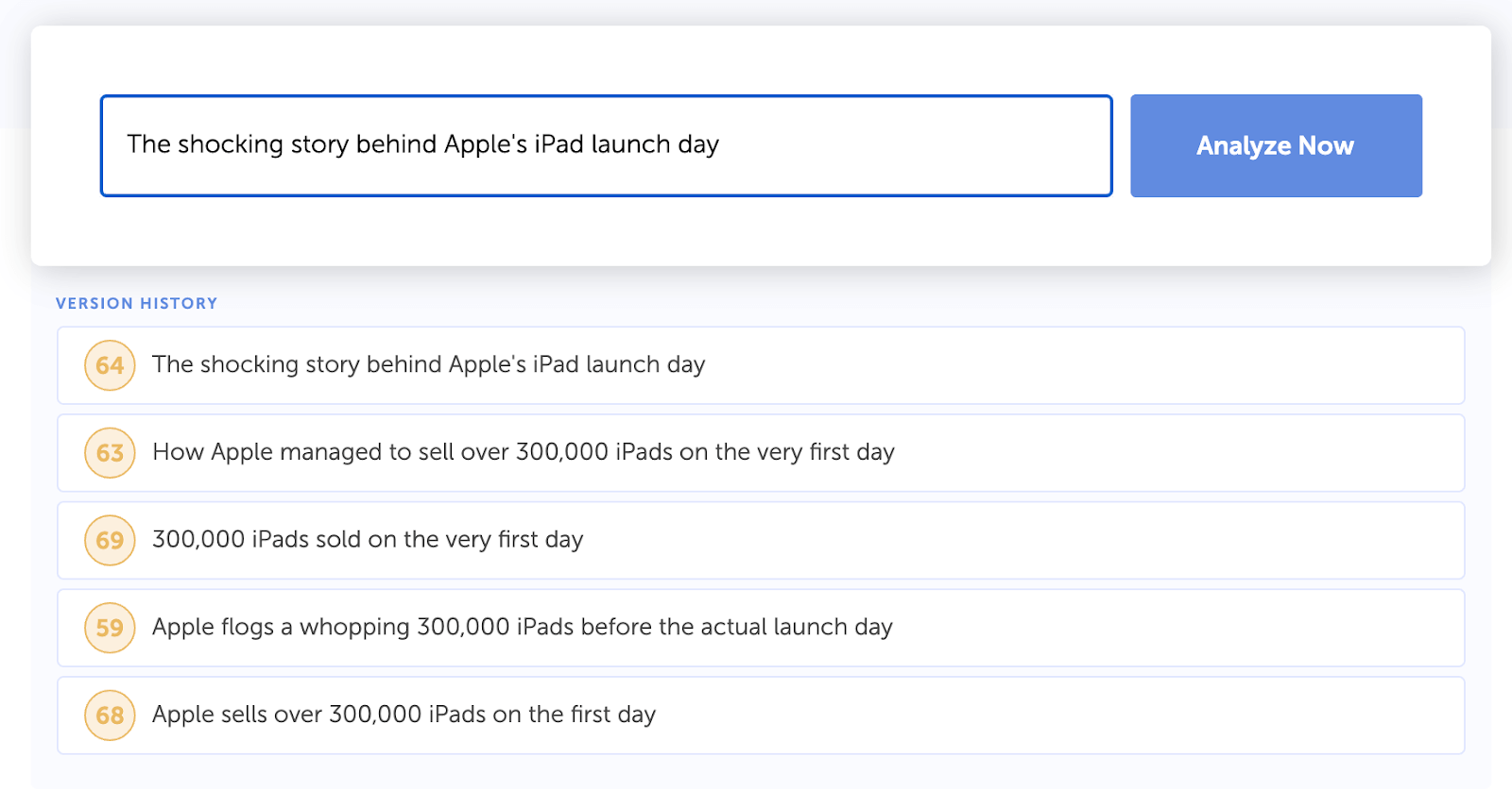 Headline Analyzer Studio: iPad Launch Day Headlines