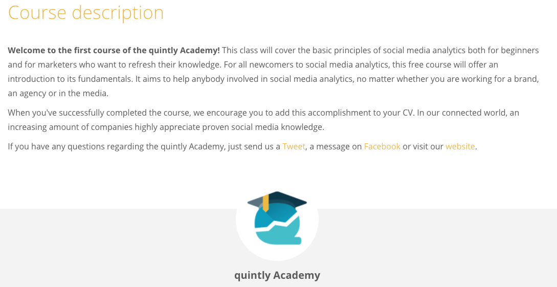 Quintly Social Media Analytics Course