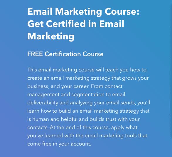 HubSpot Email Marketing Certification
