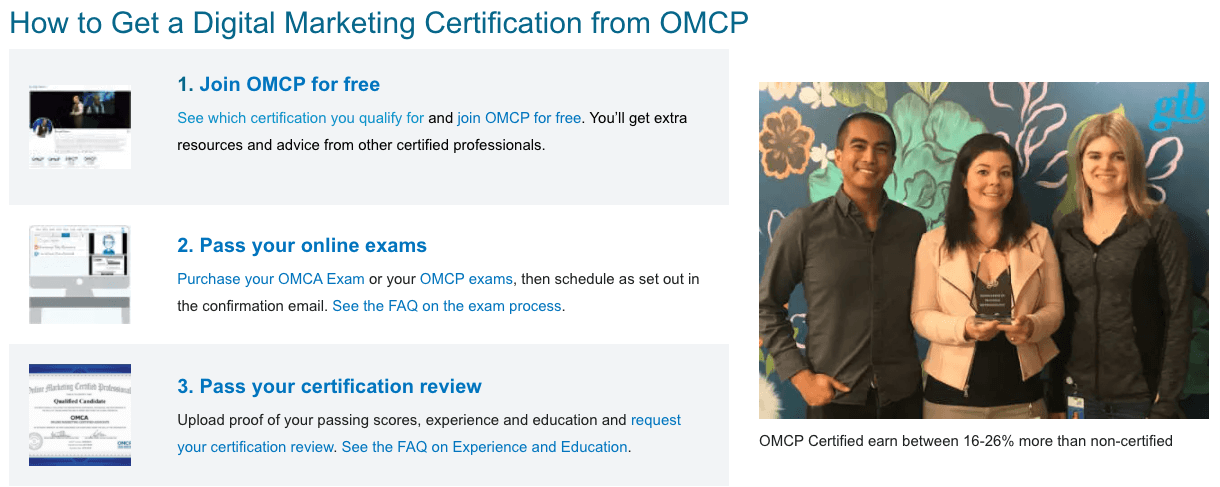 OMCP Digital Marketing Certification, Tests, and Standards