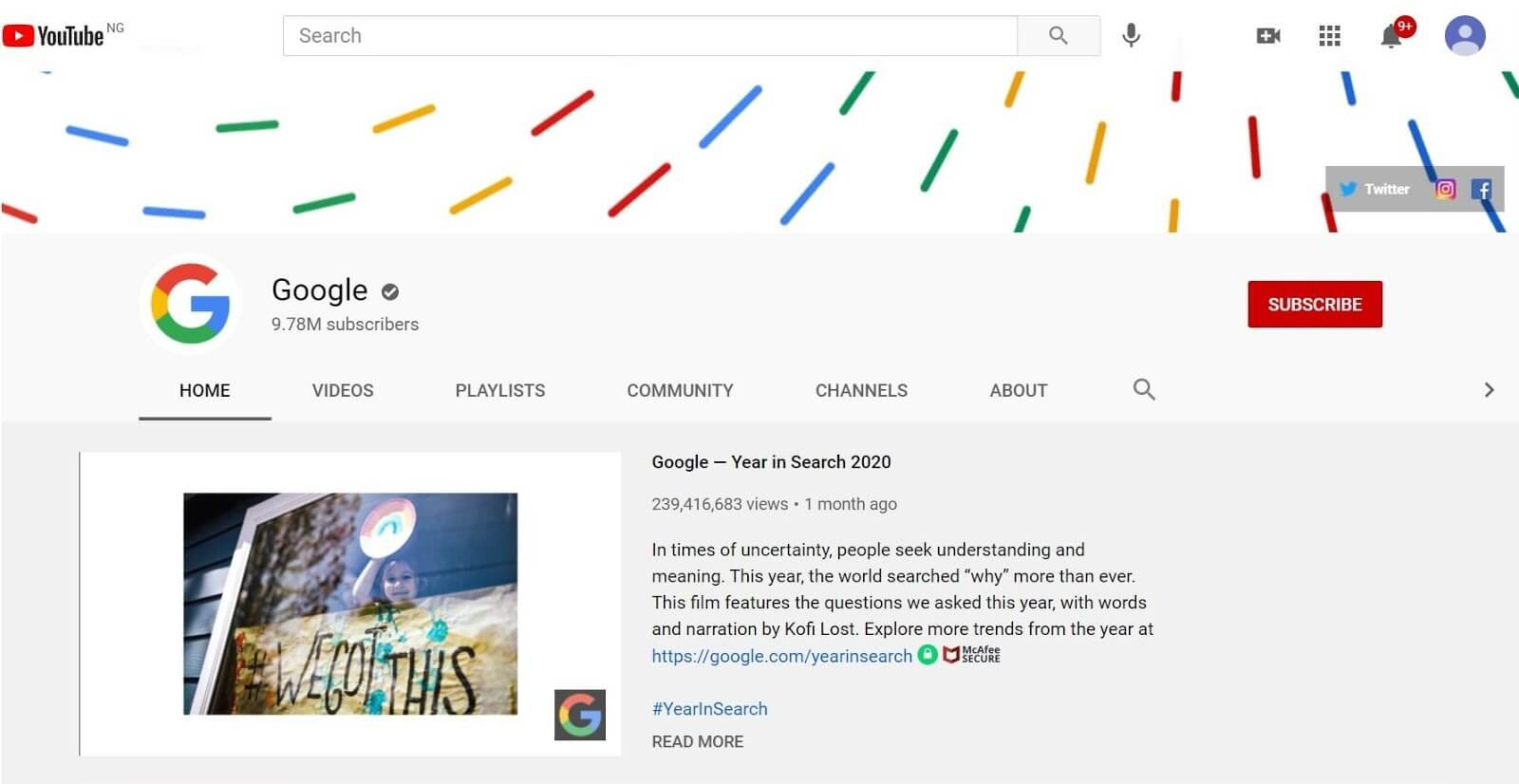 Google's YouTube channel