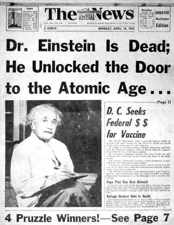 """""""Dr. Einstein is Dead"""" newspaper headline"""