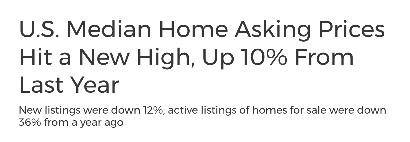 U.S. Median Home Asking Prices Hit a New High, Up 10% From Last Year