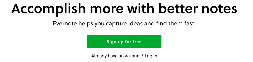 Evernote copywriting