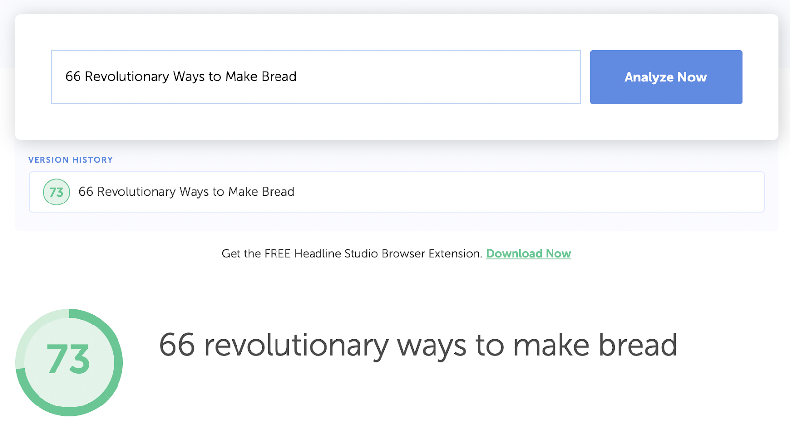 "Headline Analyzer Studio ""66 revolutionary ways to make bread"" Example"