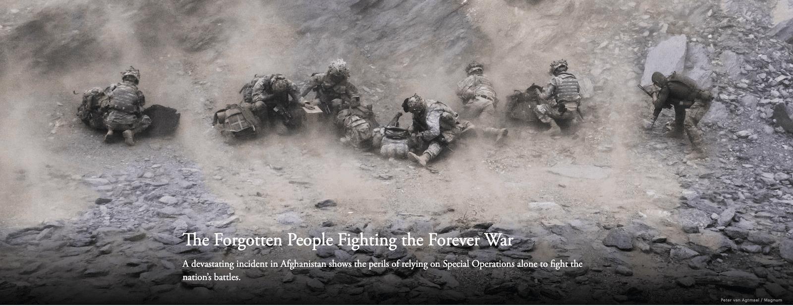 """The Forgotten People Fighting the Forever War"" memorable headline"