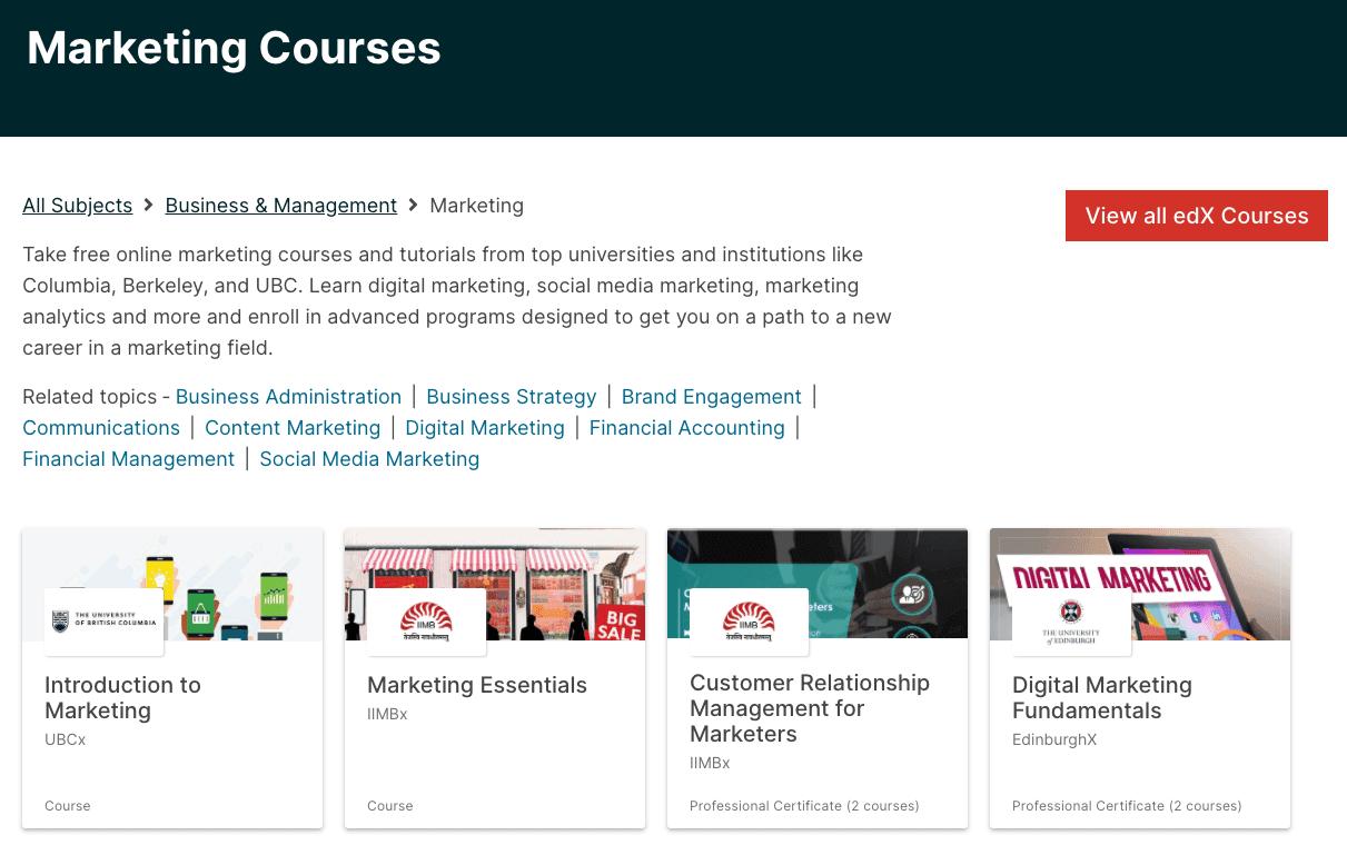 EDX Marketing Courses
