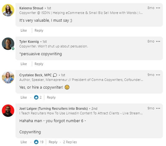 LinkedIn copywriting comments