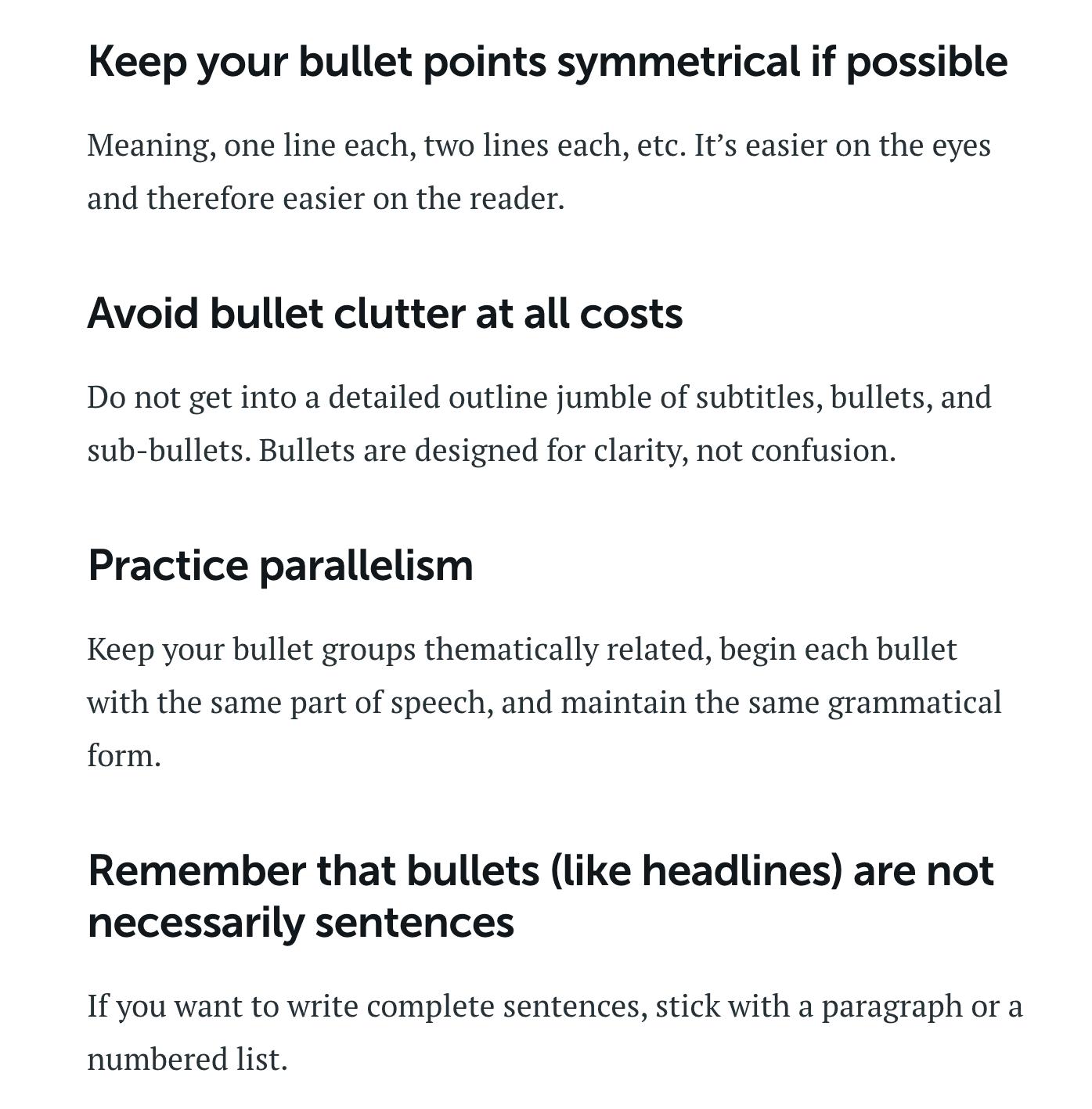 Copyblogger bullet advice