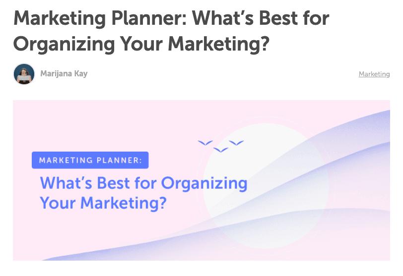 Question headline marketing planner