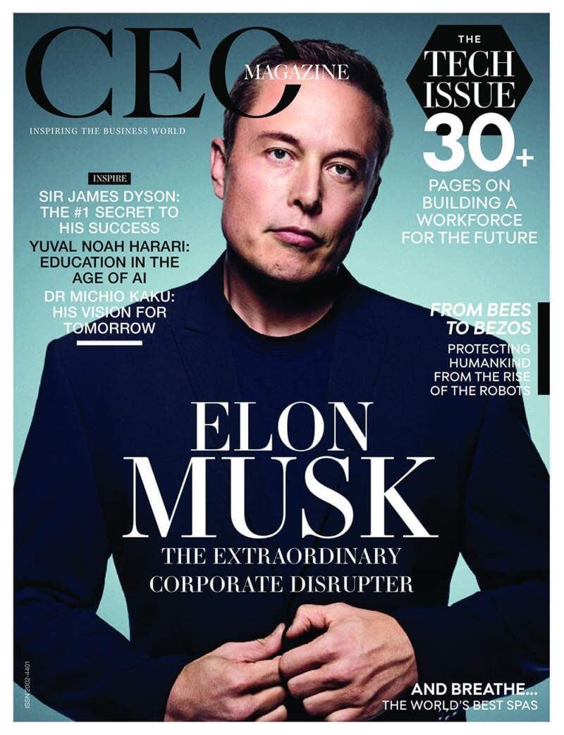 Elon Musk CEO magazine cover