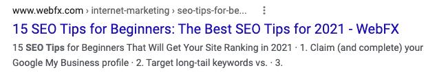 Bad SEO title example