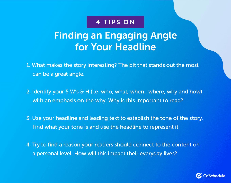 4 Tips for Engaging Magazine Headline Angles