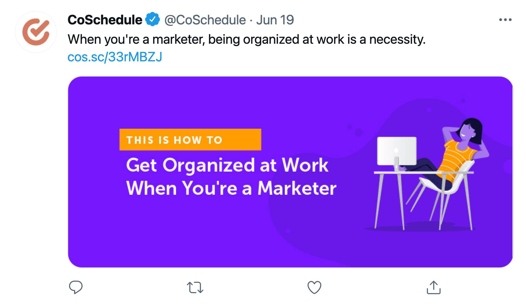 CoSchedule Twitter post example
