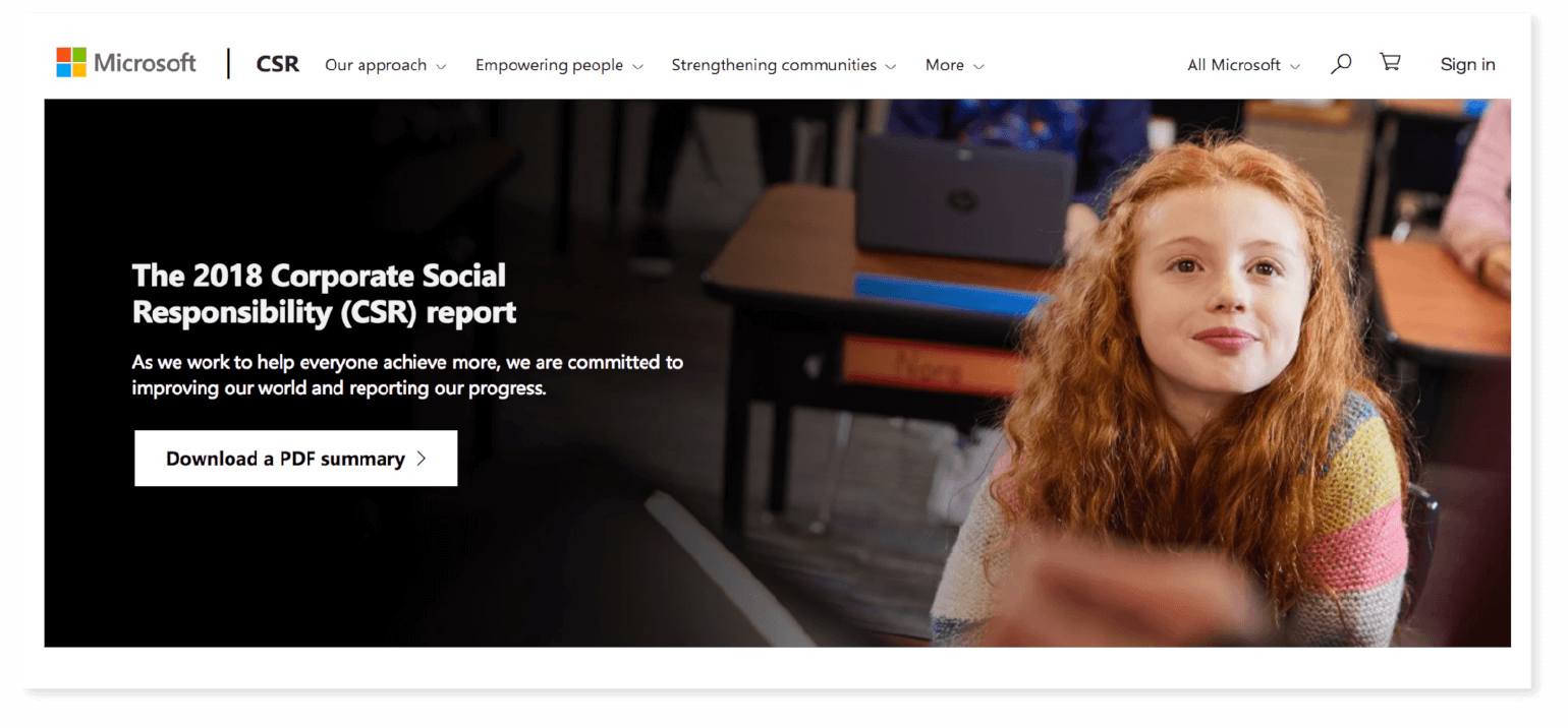 Example of a CSR campaign from Microsoft