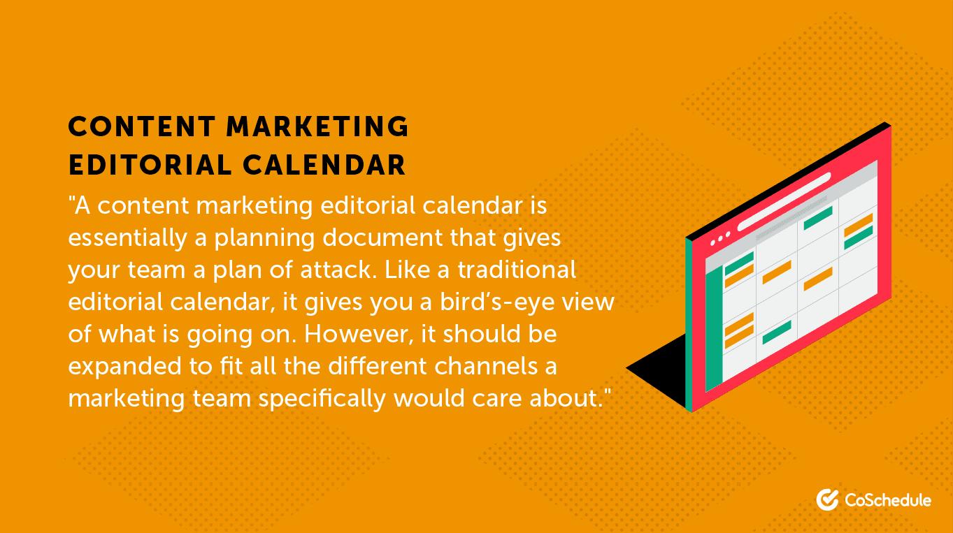 Content marketing editorial calendar