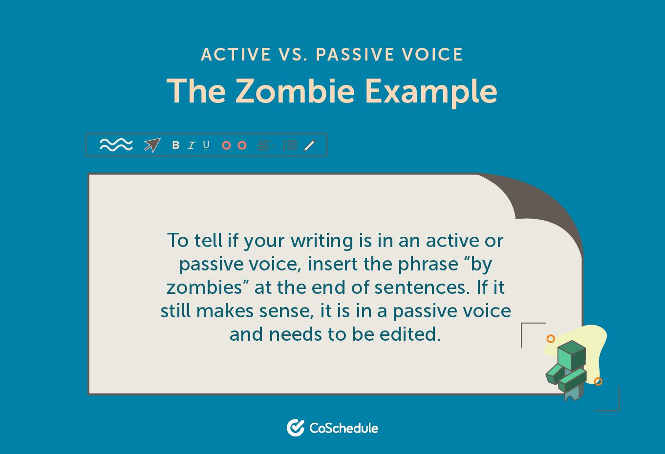 The zombie method to determine active vs. passive voice