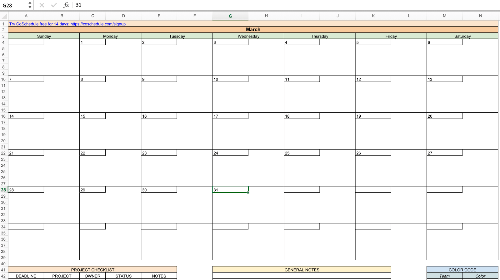 Editorial calendar to manage marcomm