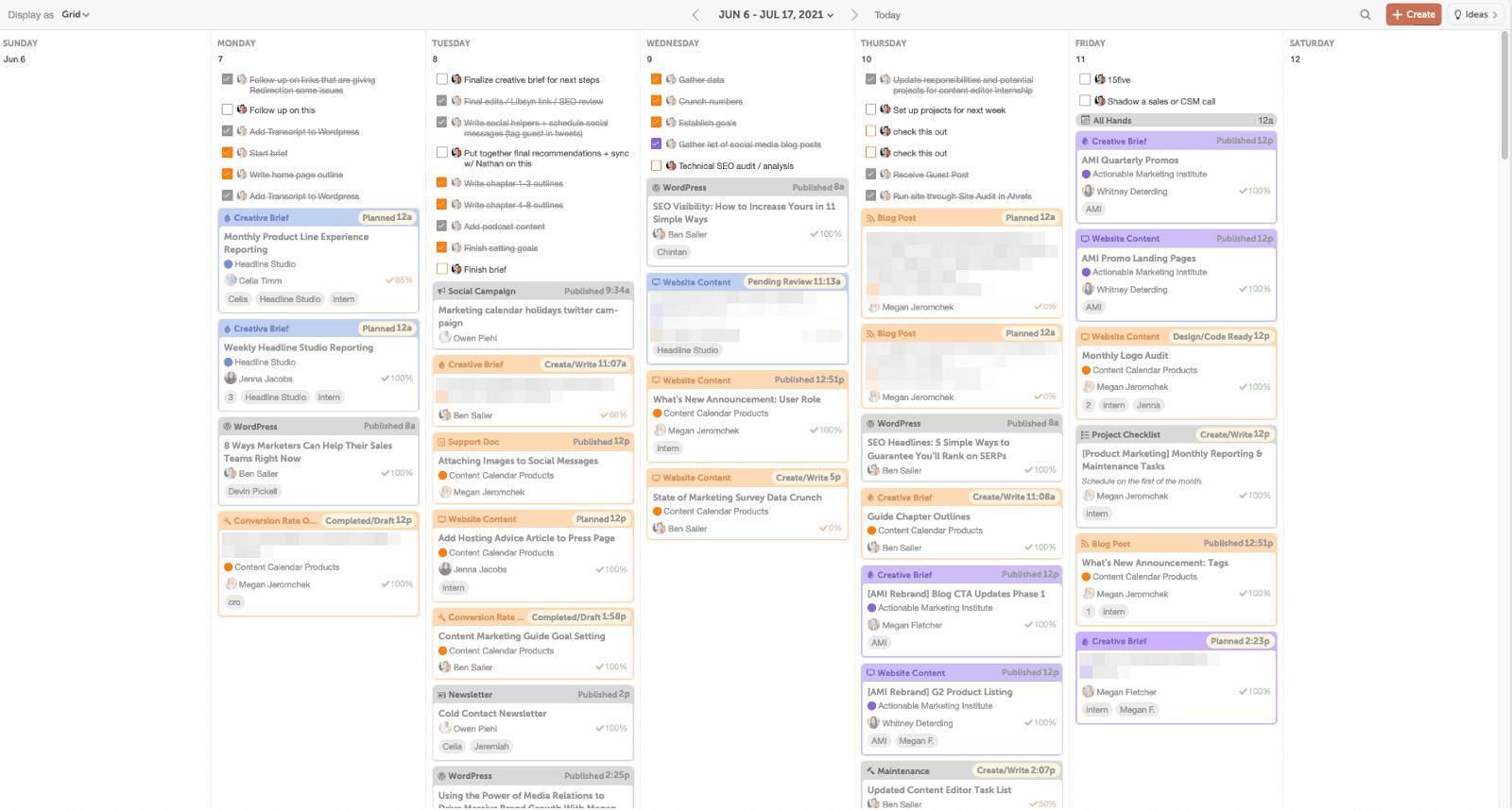 Full content calendar