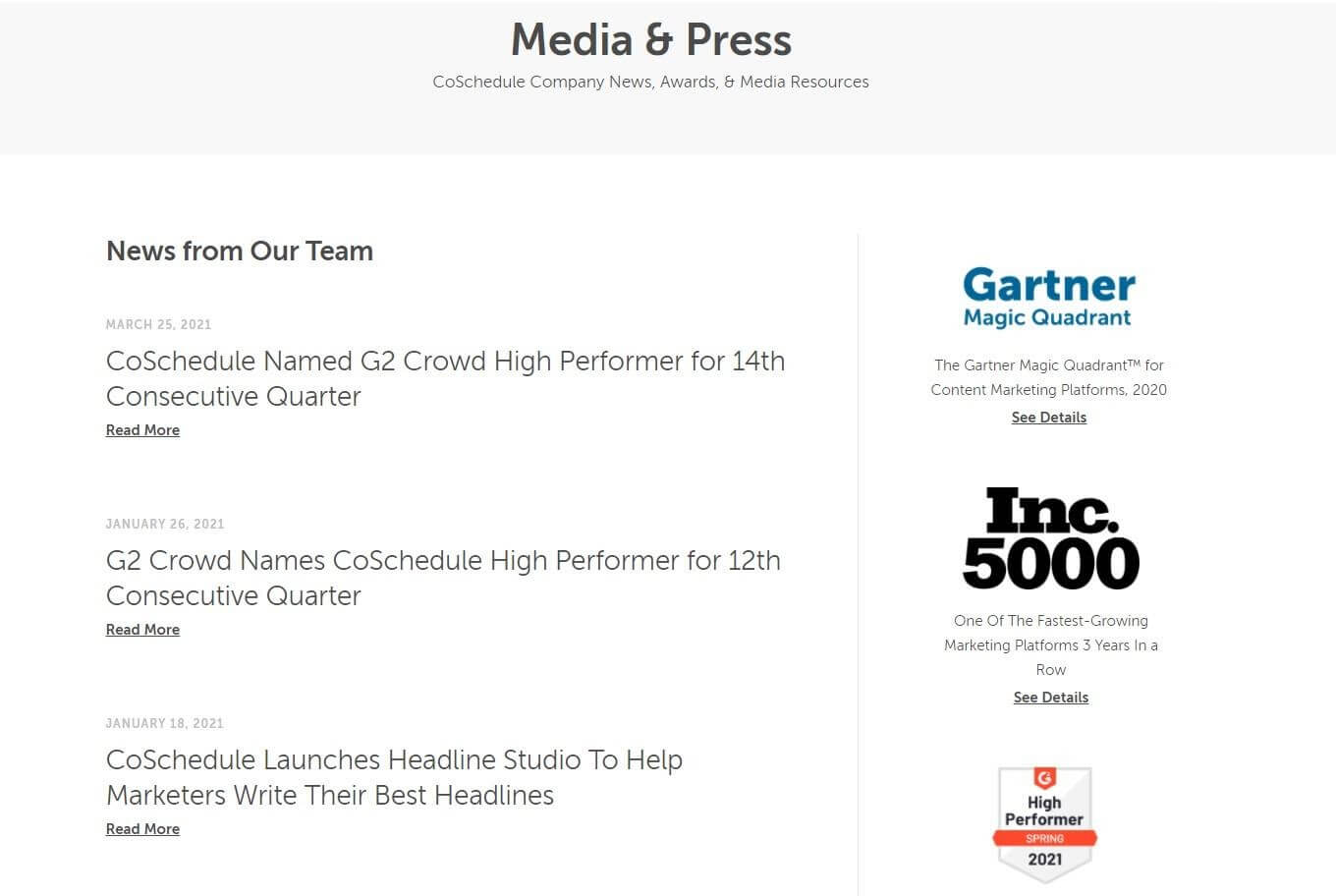 CoSchedule press page