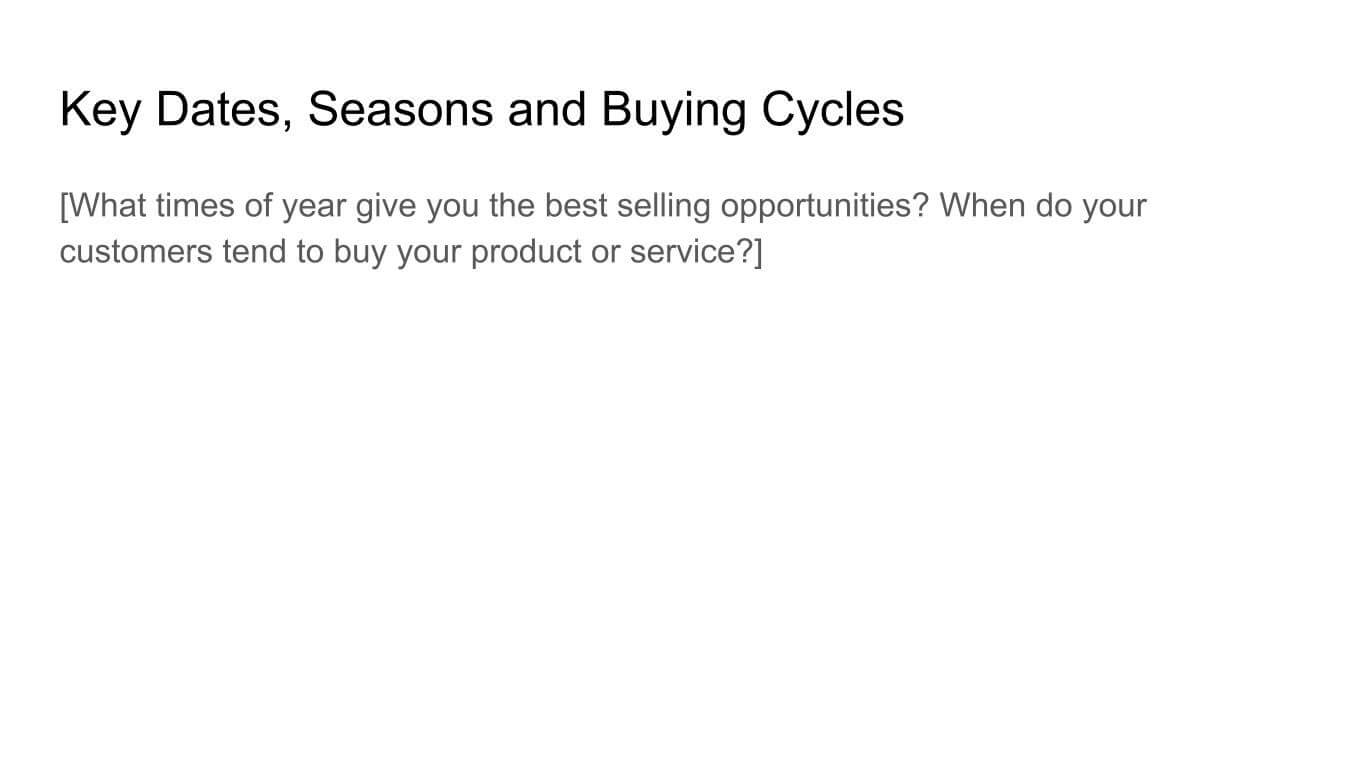 Key dates, seasons, and buying cycles