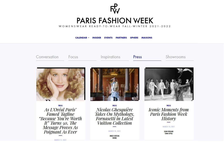 Event press page Paris fashion week