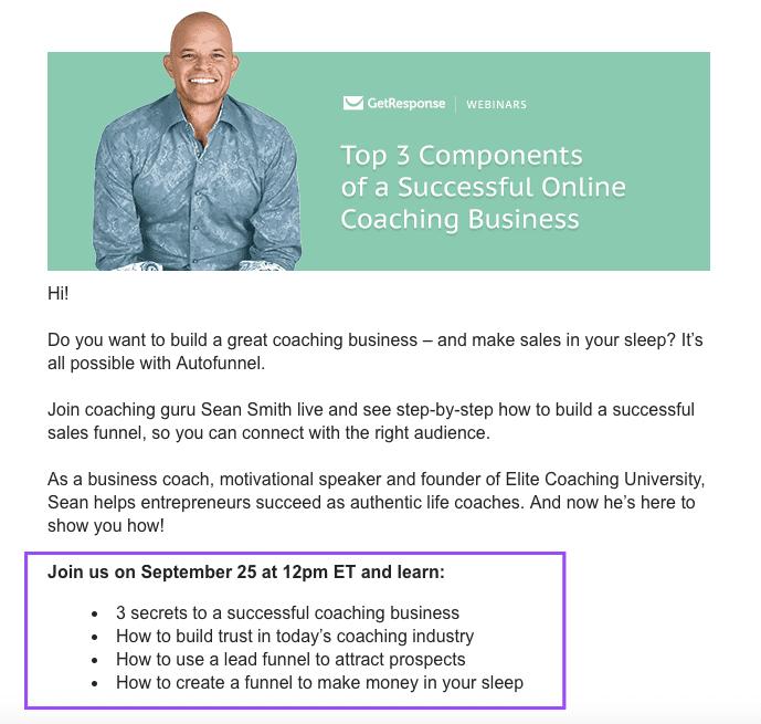 GetResponse webinar outreach email