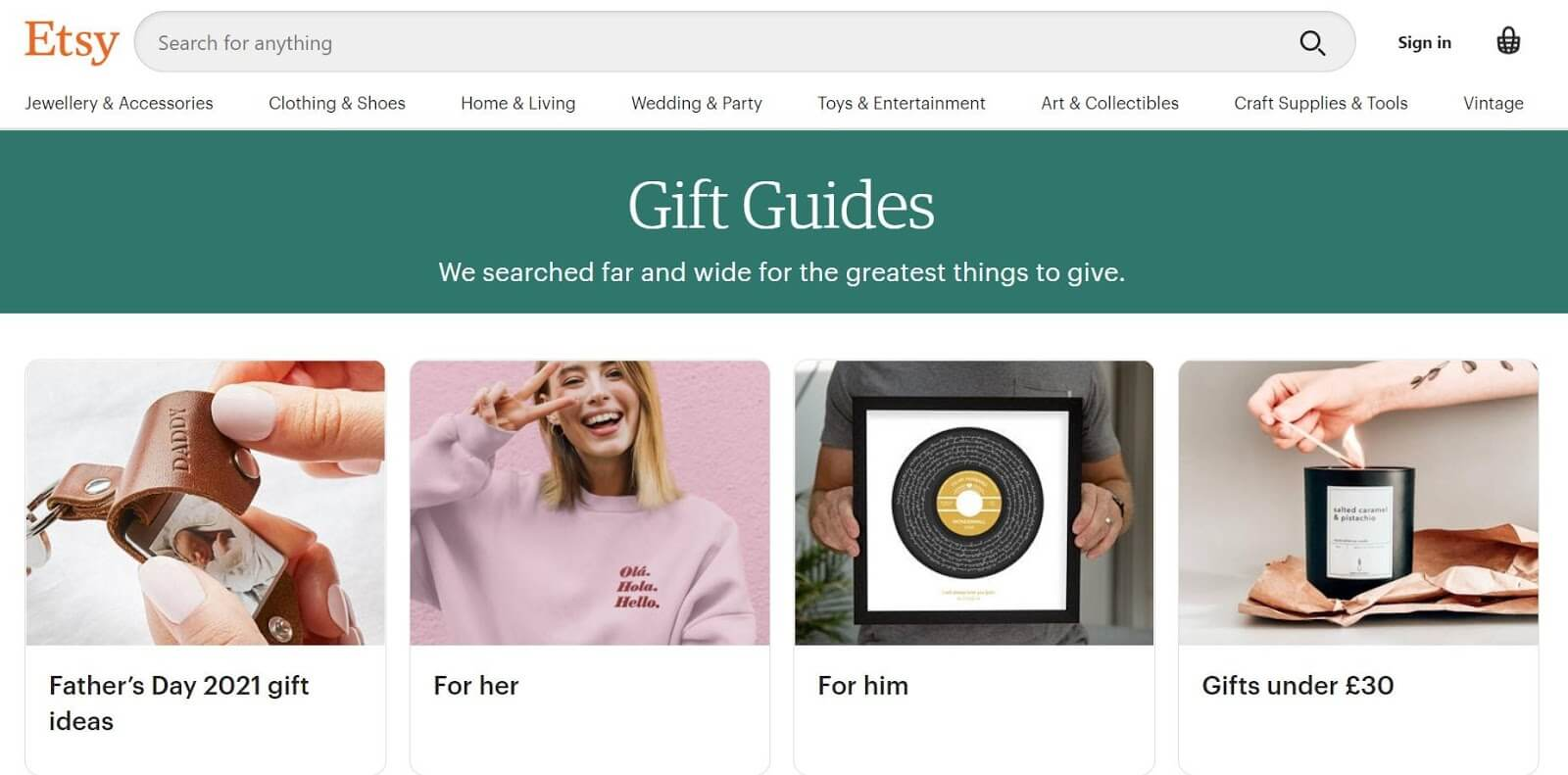 Etsy gift guides