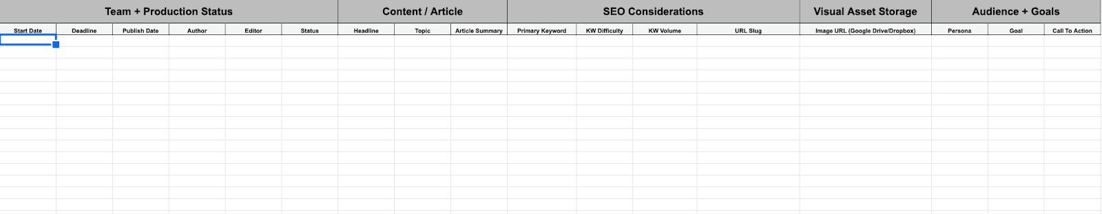 Editorial calendar spreadsheet