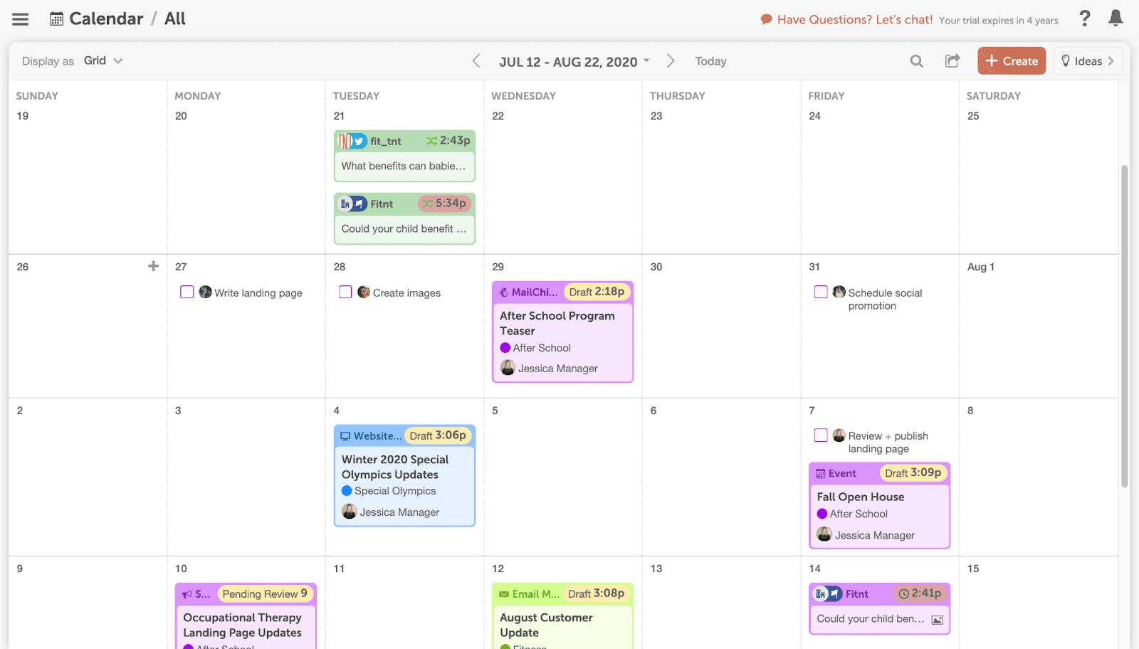 CoSchedule calendar example