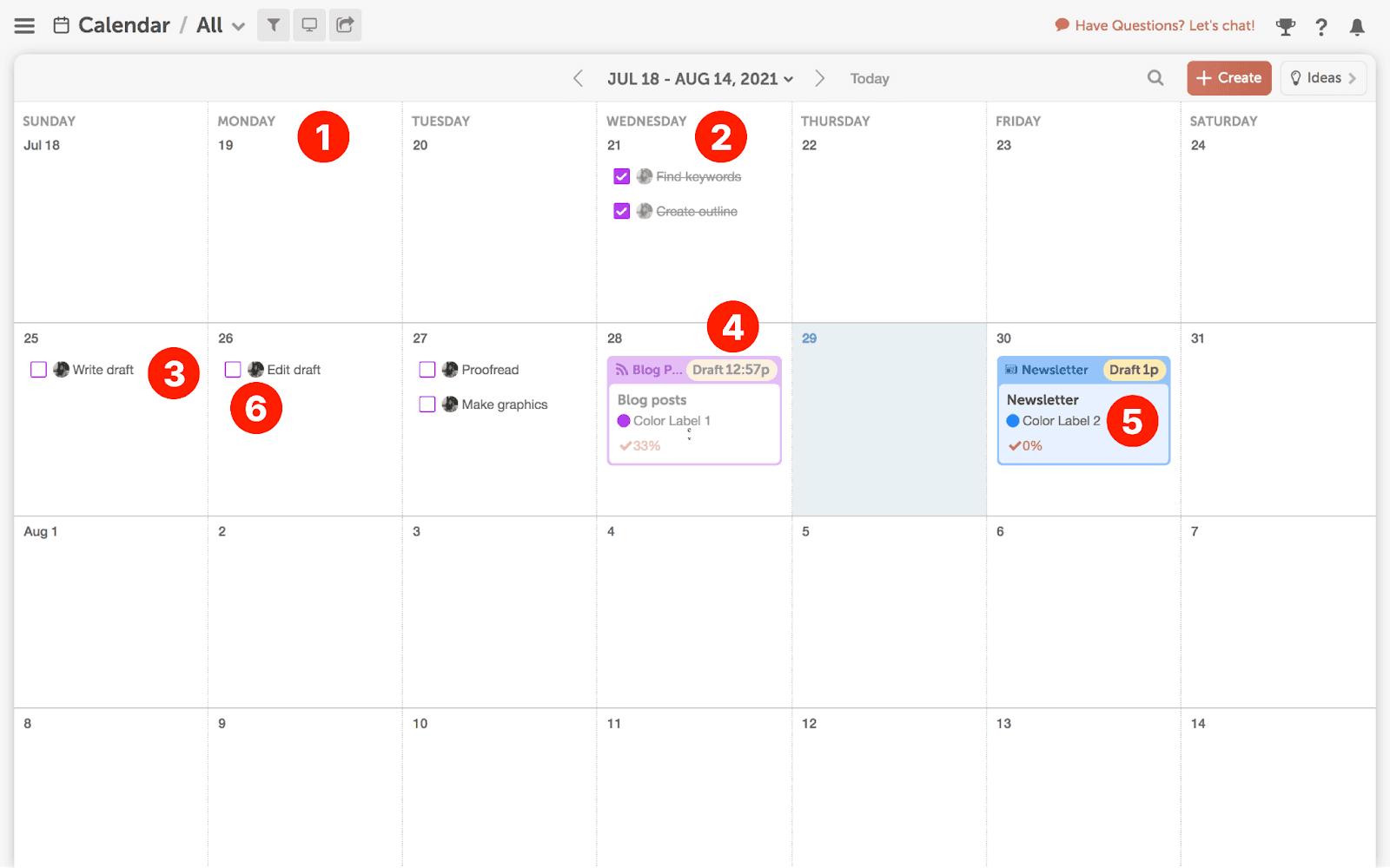 Filled editorial calendar in CoSchedule
