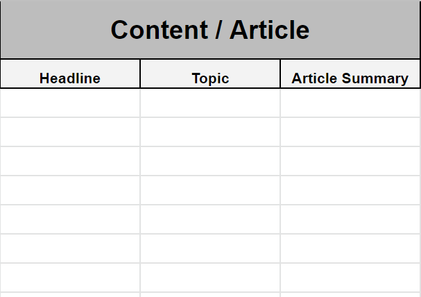 Content / article spreadsheet example