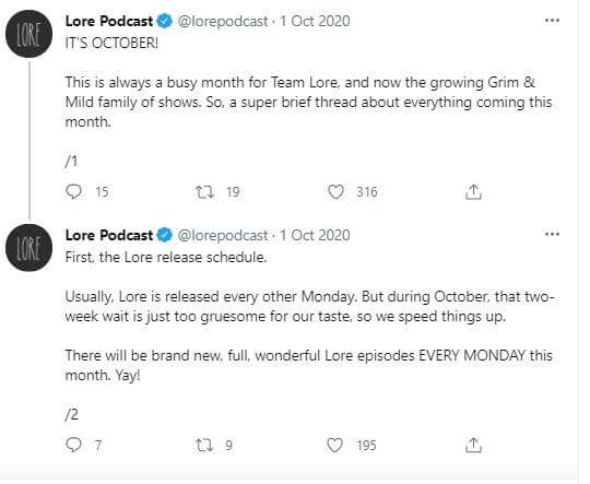 Lore podcast announcing release schedule