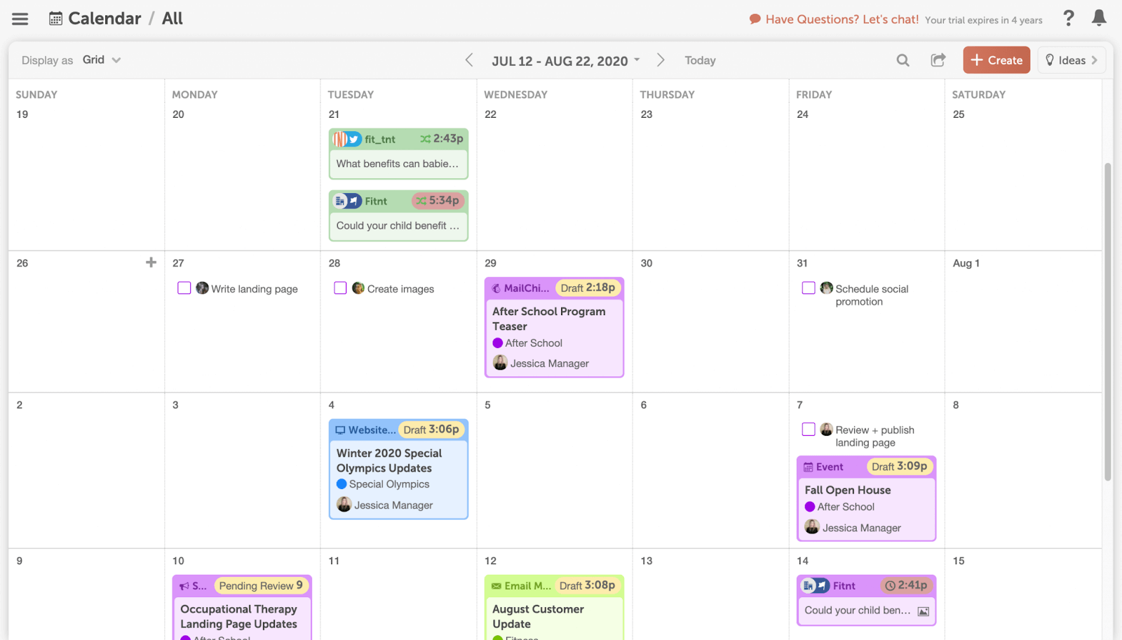 Color-coded content calendar