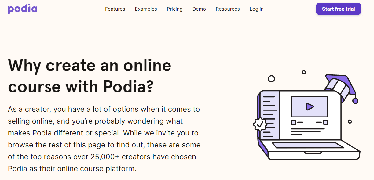 Homepage for Podia - explains why you would want to create an online page with them