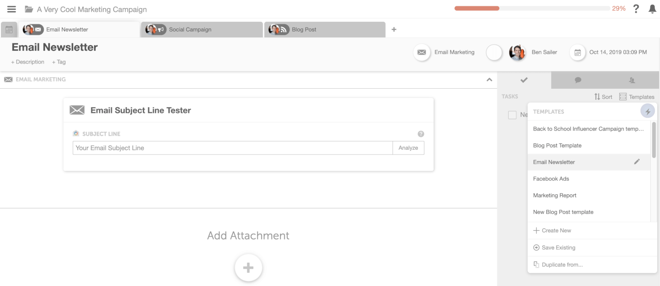 Task templates in CoSchedule screenshot