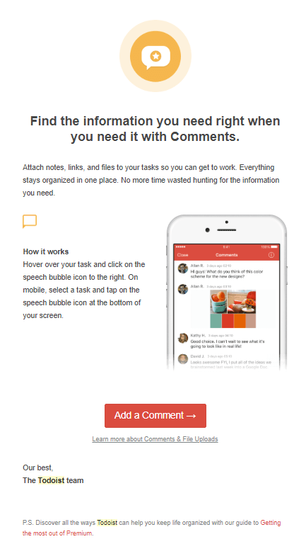 Todoist tips email screenshot