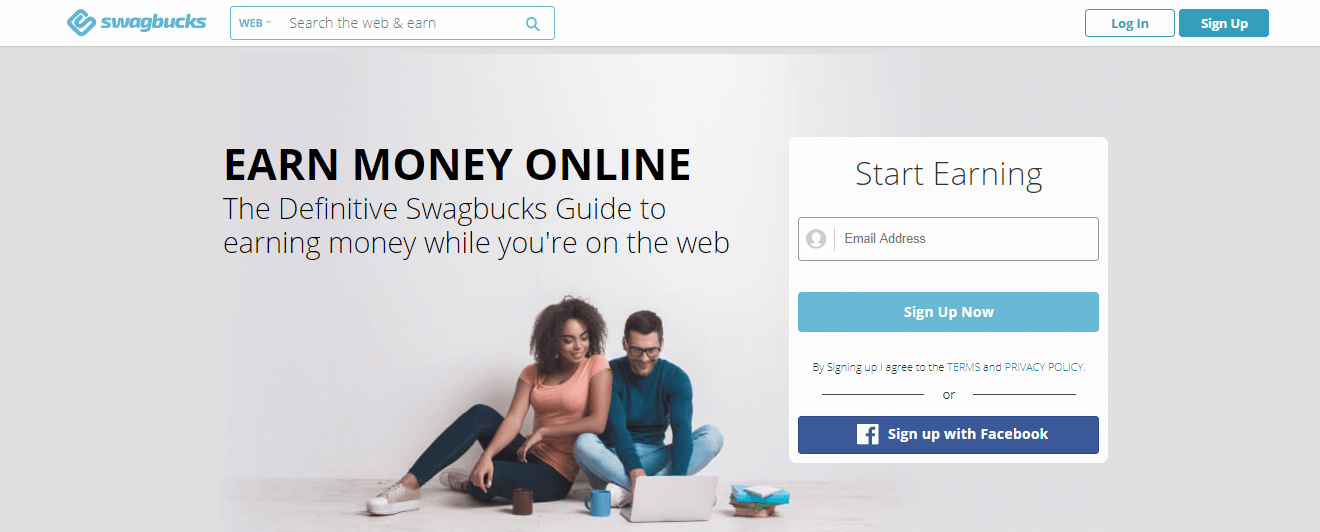 Homepage for Swagbucks to earn money while you're online