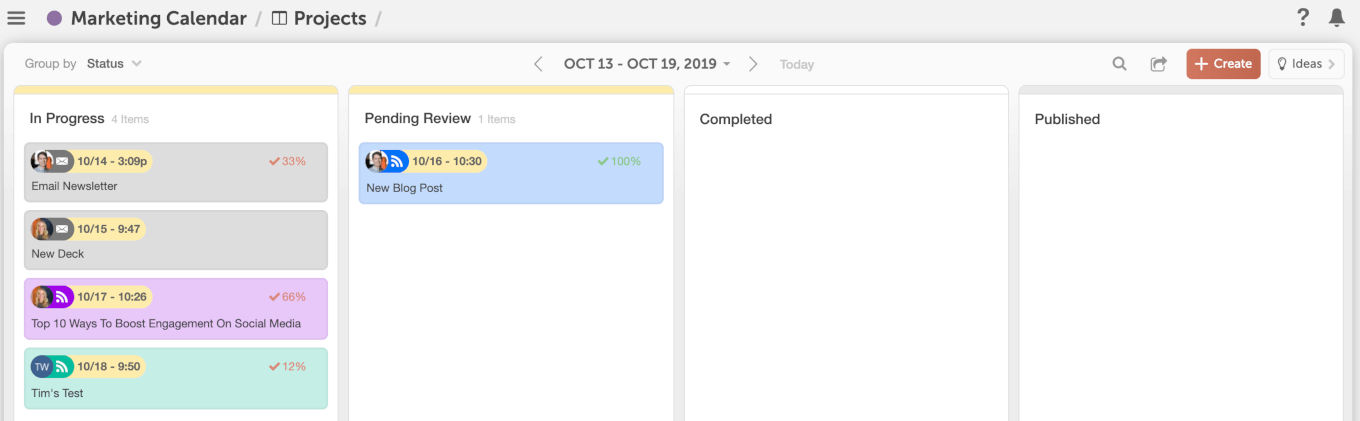 Kanban Project Dashboard in CoSchedule