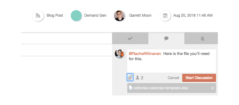 Screenshot of what the discussion thread looks like within CoSchedule